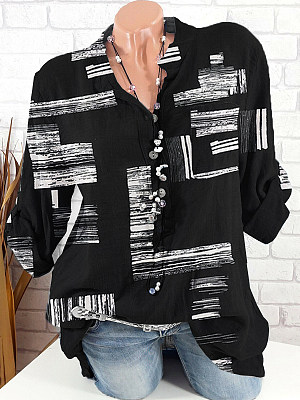 V Neck Loose Fitting Printed Long Sleeve Blouse, 24775006