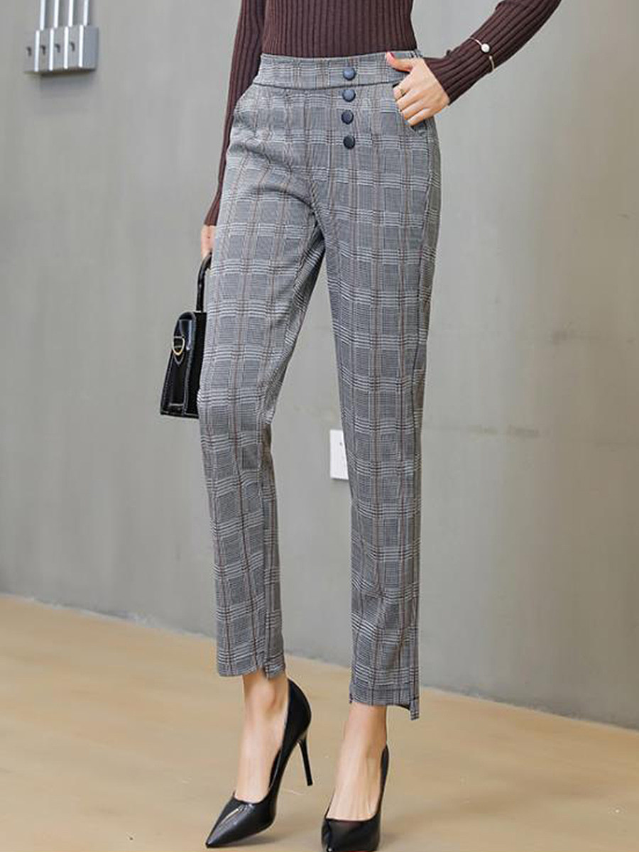 2020 new plaid pants carrot pants Korean casual pants female spring and summer was thin wild straight loose large size thin section