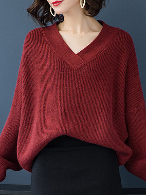 V Neck Plain Long Sleeve Knit Pullover, 10527488