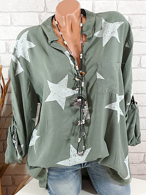 Women's V Neck Buttons Star Printed Blouse gender:woman, season:autumn,summer,spring, texture:polyester, pattern_type:star, sleeve_length:long sleeve, sleeve_type:regular sleeve, style:leisure, collar_type:v-neck, laundry_guide:cold water hand wash, dress_occasion:daily,leisure, shoulder width:43,bust:120,clothing length:73,sleeve length:66,