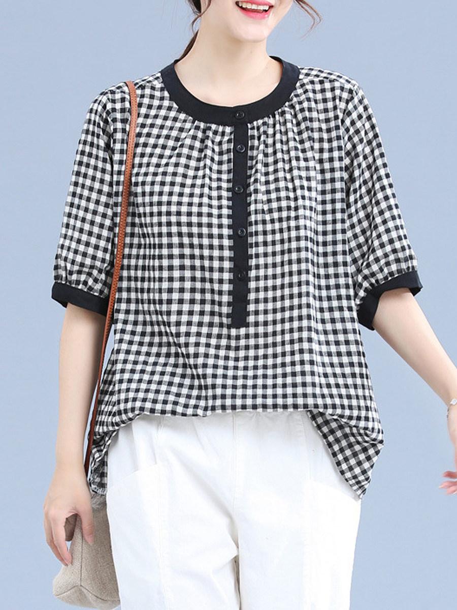BerryLook Round Neck Plaid Short Sleeve Linen Blouse