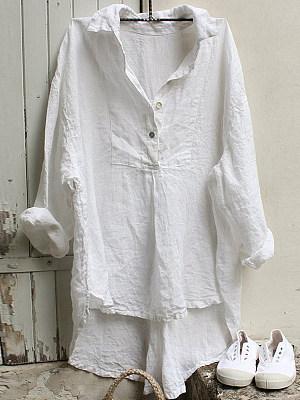 Turn Down Collar Plain Loose Fitting Long Sleeve Blouse, 23958195