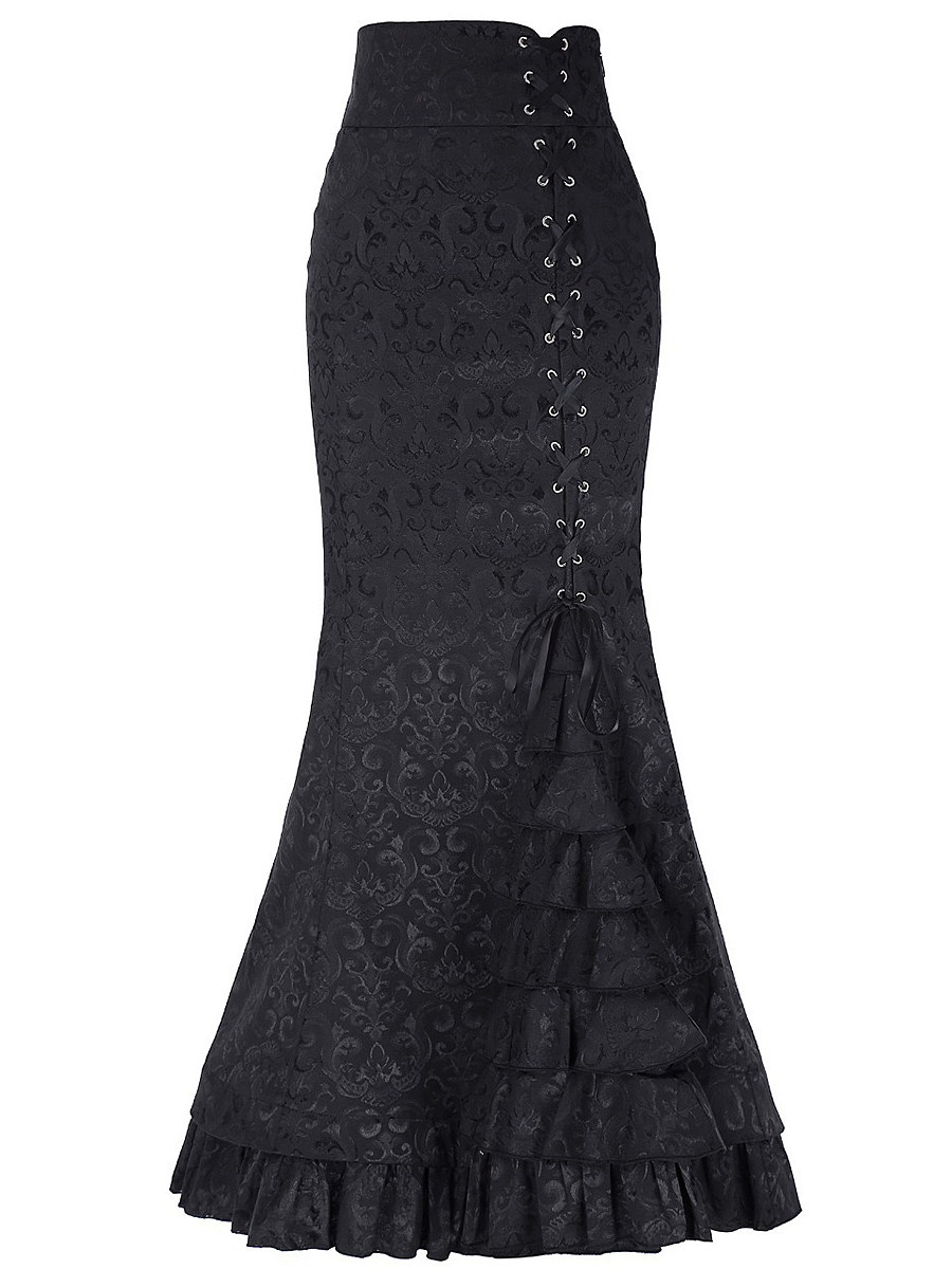Fashionable sexy fishtail corset jacquard maxi skirt