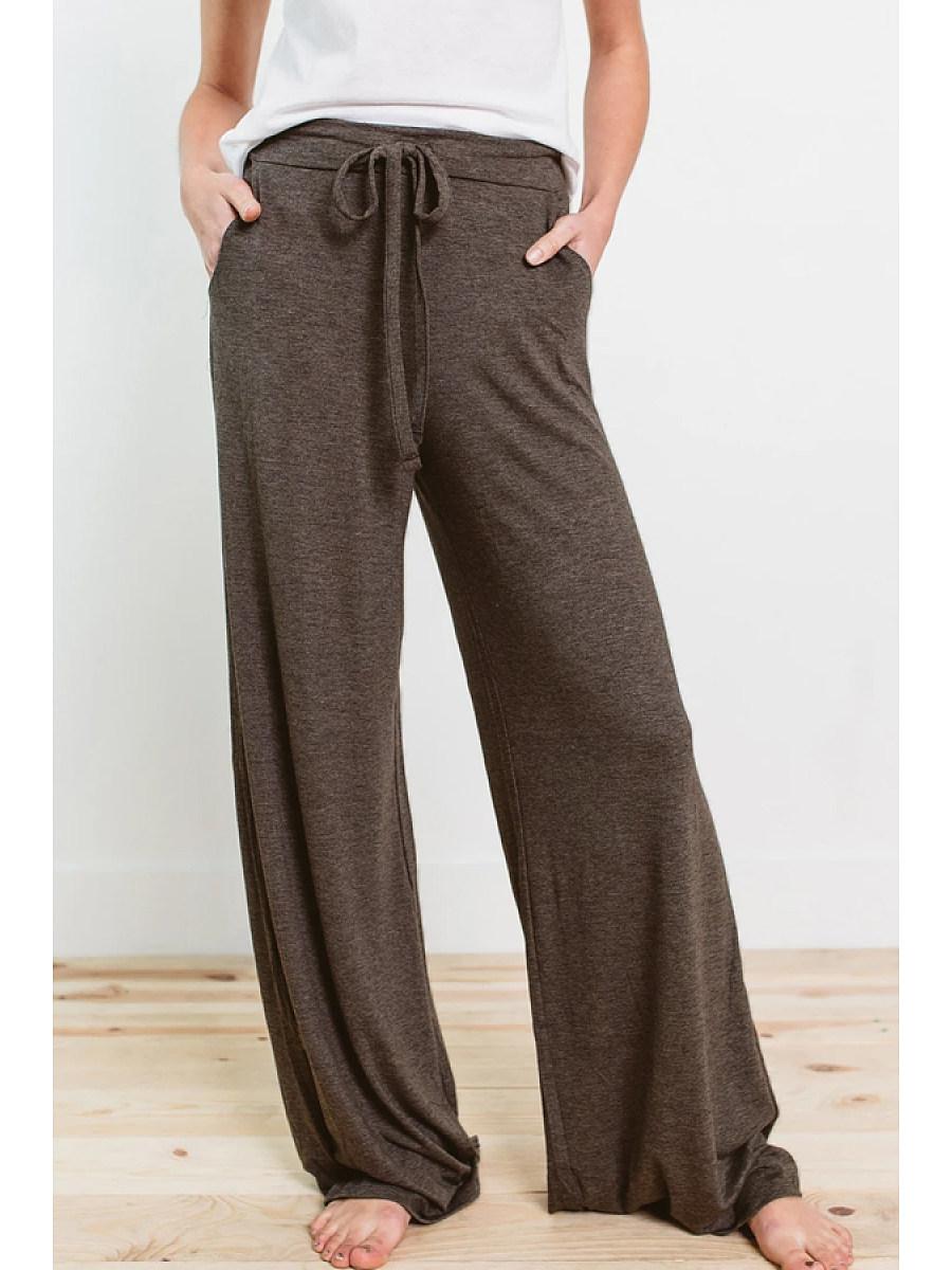 Casual drawstring wide-leg pants