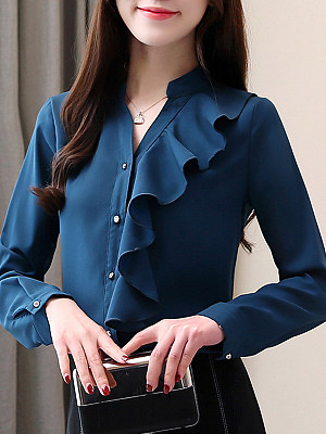 Band Collar Elegant Patchwork Long Sleeve Blouse, 11198651