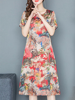 Berrylook Round Neck Print Short Sleeve Shift Dress stores and shops, shoping, tunic dress, floral shift dress