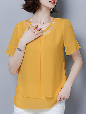 Round Neck Patchwork Plain Short Sleeve Blouse, 11023646