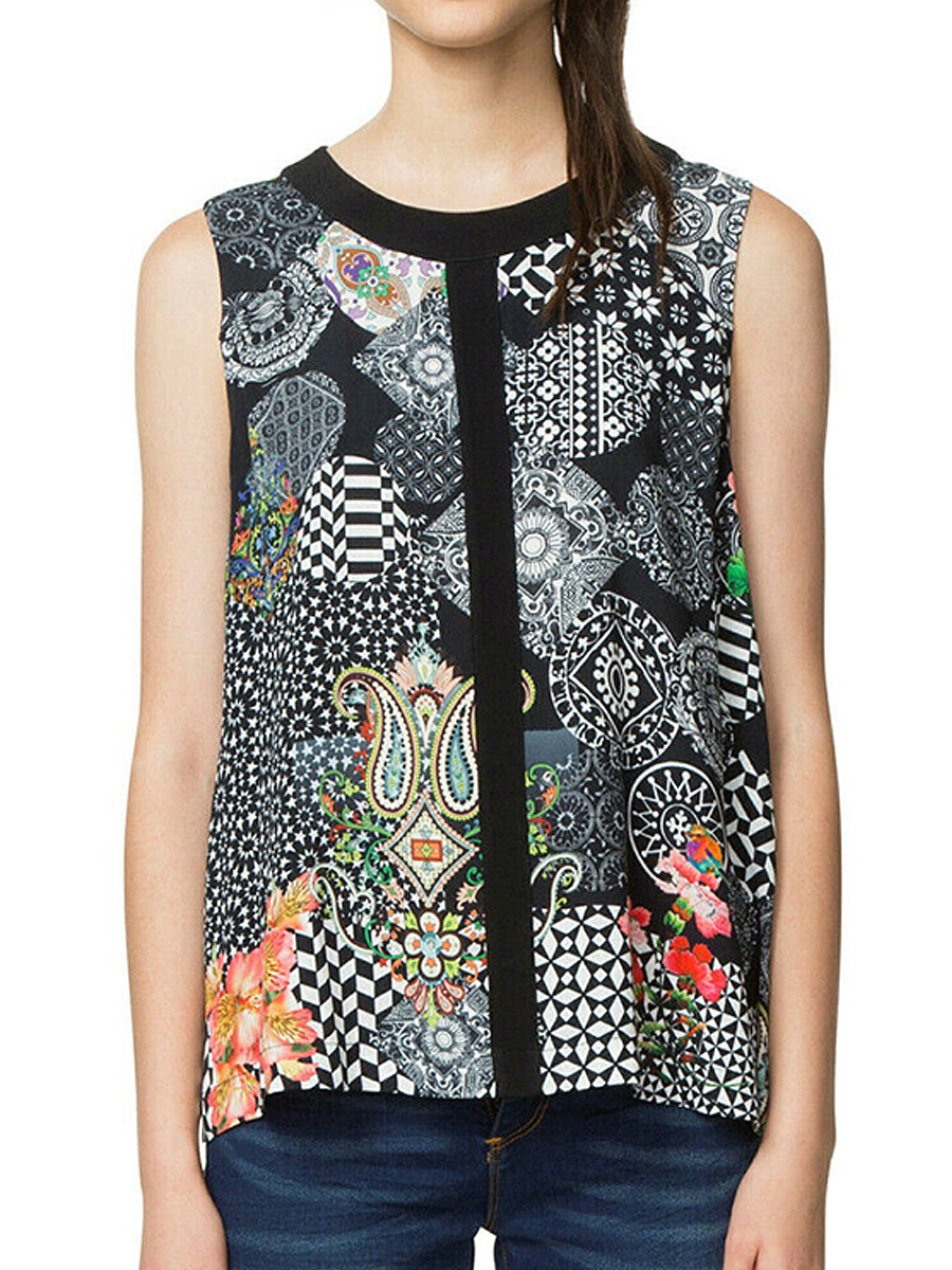 Round Neck Floral Print Patchwork Sleeveless Blouse