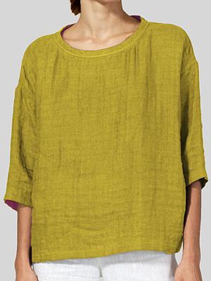 Round Neck Plain Half Sleeve Linen Blouse, 11421023