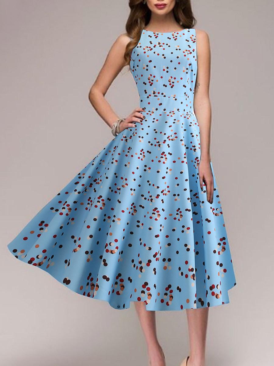 BerryLook Round Neck  Printed Skater Dress