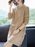 Image of Knit Sweater Pullover Long Sleeve Round Neck Dress