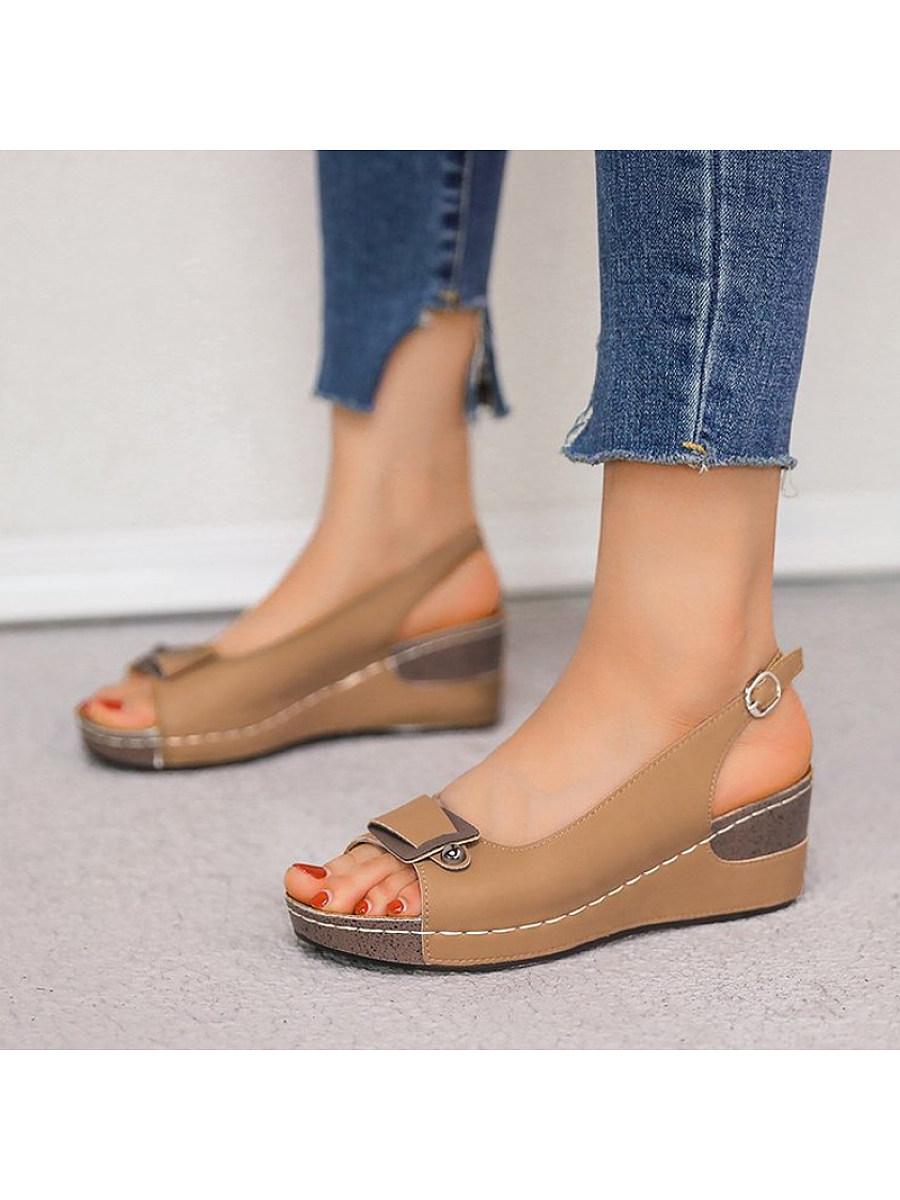 BerryLook Women's round head fish mouth wedge sandals