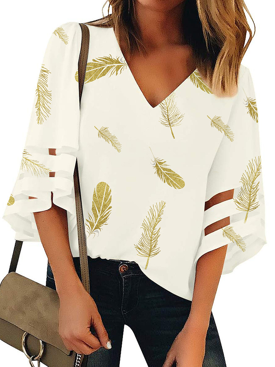 BerryLook V Neck Feather Print Bell Sleeve Blouse