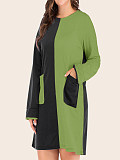 Loose Round Neck Contrast Long Sleeve Dress