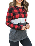 Image of Hat Collar Plaid Patchwork Long Sleeve Hoodie