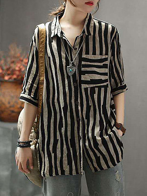 Turn Down Collar Striped Short Sleeve Linen Blouse, 11469224
