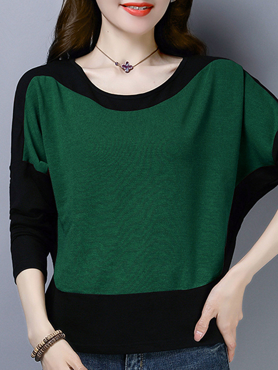 Round Neck Patchwork Casual Color Block Long Sleeve T-Shirt - from $19.95