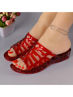 Women Casual Crystal Wedge Jelly Sandals