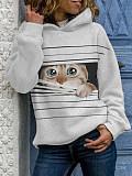 Image of Hat Collar Cat Print Long Sleeve Hoodie Sweatshirt