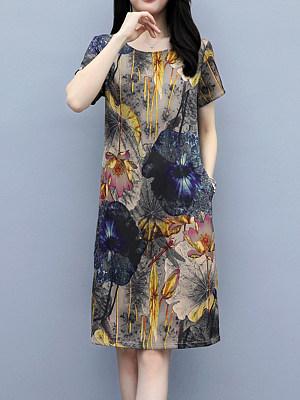 Berrylook A Round Neck Imitation Ice Silk Shift Dress online sale, shoping, long white dress, floral shift dress