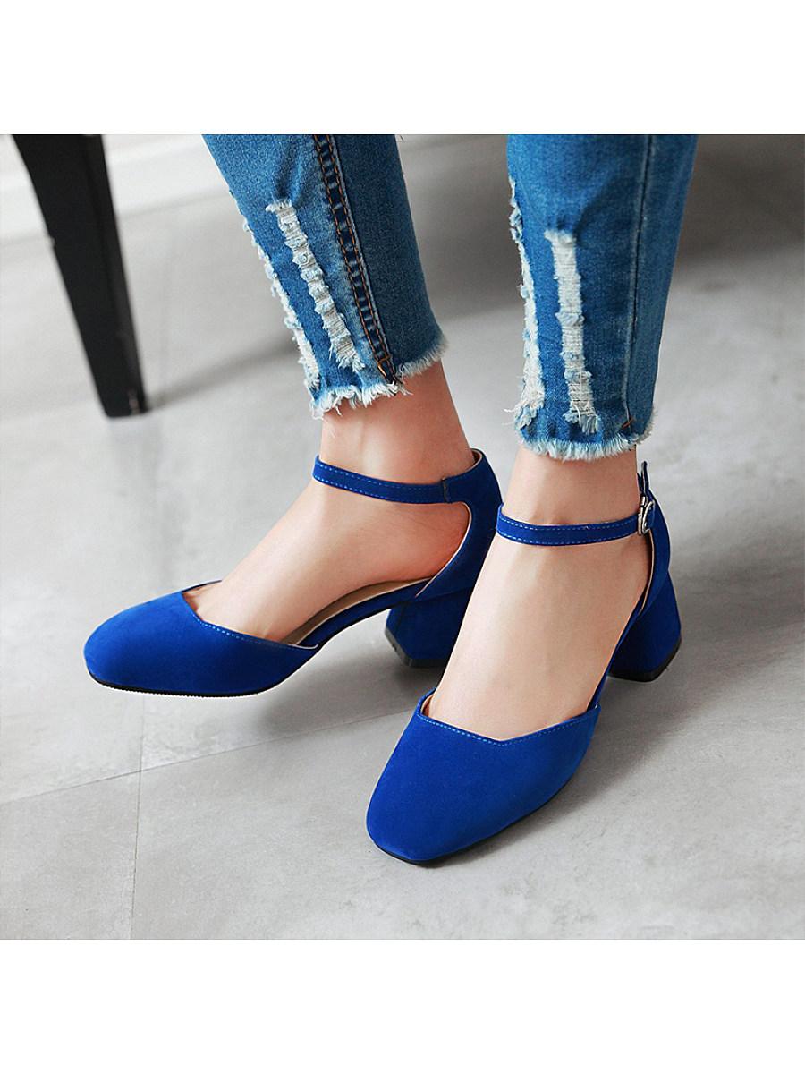 Women's Fashion Square Head Suede Solid Color Comfortable Heel Sandals