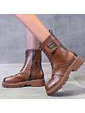 Image of British style engraved thick-heeled metal buckle Martin boots