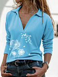 Image of Turn Down Collar Print Long Sleeve T-shirt