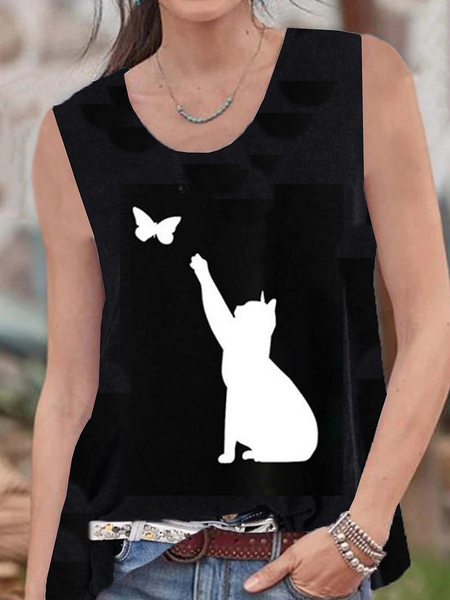 Round Neck Cat Print Sleeveless T-shirt