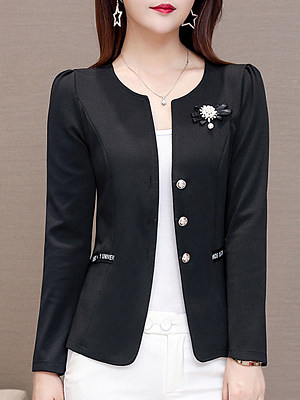 Fashion womens pure color single-breasted blazer gender:female, season:autumn,spring, collar:crew neck, texture:polyester, sleeve_length:long sleeve, sleeve_type:regular sleeve, style:japan and south korea, design:single-breasted, dress_occasion:daily, bust:104,clothing length:59,shoulder width:41,sleeve length:60,