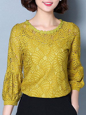 Round Neck Patchwork Lace Long Sleeve Blouse, 11157091