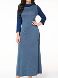 Image of Colorblock Long Sleeve Dress With High Collar And Big Hem