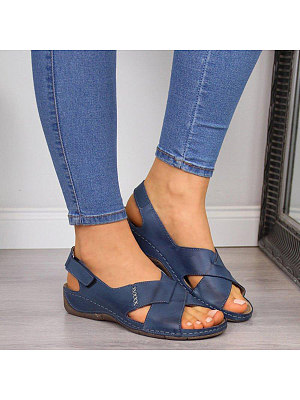 Vintage Women Round Toe Cross Plain Sandals, 10837235