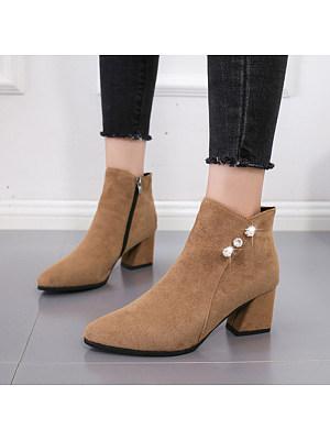Women's Wild Plus Velvet Pointed Martin Boots, 10967385