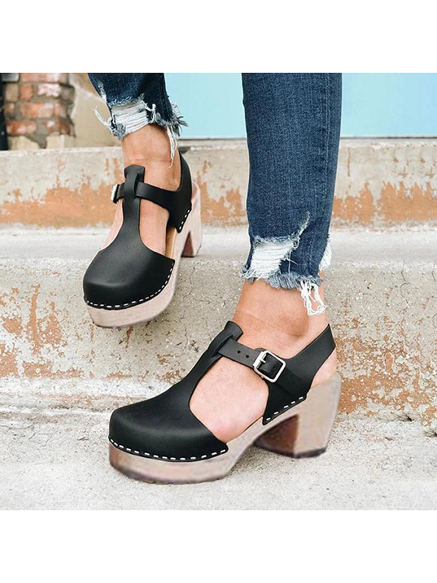 Women's fashion high heel waterproof platform buckle sandals