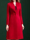 Women's Fashion Solid Color Collar Slim Long Sleeve Coat