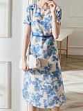 Image of Printed Waist Round Neck Short Sleeve Dress