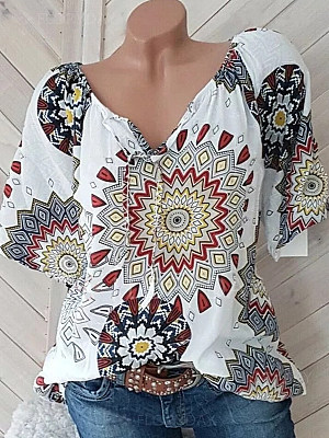 Round Neck Printed Short Sleeve Blouse фото