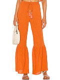 Image of Fashion solid color high waist wide leg flared pants