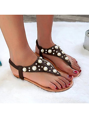 Berrylook Women's Casual Rhinestone Flat Sandals shoping, clothing stores, Solid Sandals,