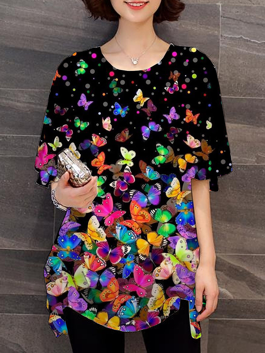 BerryLook Round Neck Butterfly Print Short Sleeve Blouse