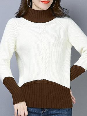 Short High Collar Color Block Long Sleeve Knit Pullover, 10538119