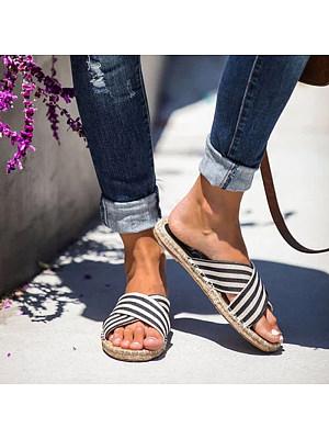 Women's casual stripe cross straw bottom sandals