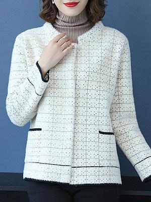 Fashion Wild Short Plaid Knit Coat, 10686450