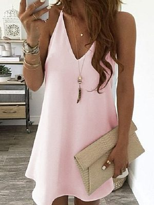 Berrylook Solid Color V Neck Sleeveless Mini Dress stores and shops, clothing stores, tunic dress, floral shift dress