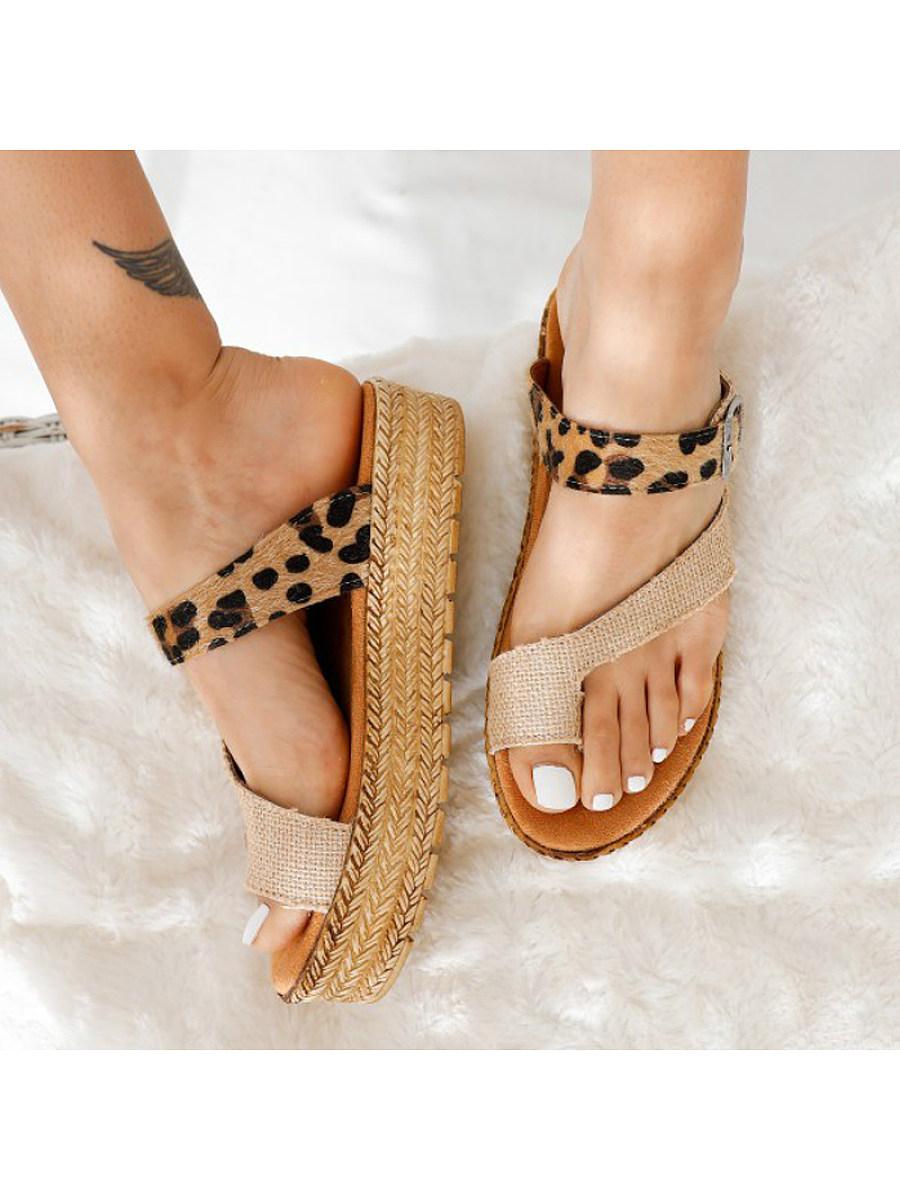 BerryLook Women's set toe thick bottom woven hemp leopard print slippers