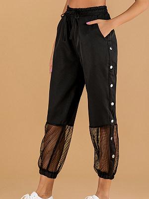 Fashion lace up high waist casual pants фото