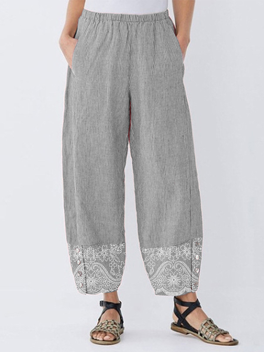 Casual printed button wide-leg pants