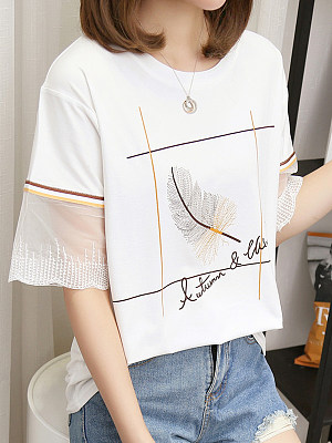 Round Neck Patchwork Short Sleeve T-shirt, 11565862