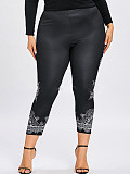 Image of Fashion stretch casual plus size printed leggings
