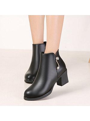 Fashion contracted ladies side zipper plus velvet ankle boots